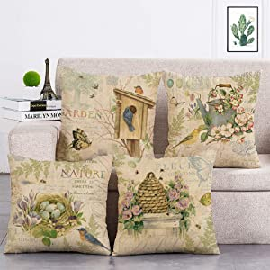 geinne 4pack Nature Style Throw Pillow Case Vintage Garden Flower and Bird rggs Theme Decorative Square Cotton Linen Cushion Cover for 18 X 18 Inch Pillow Inserts (Nature)