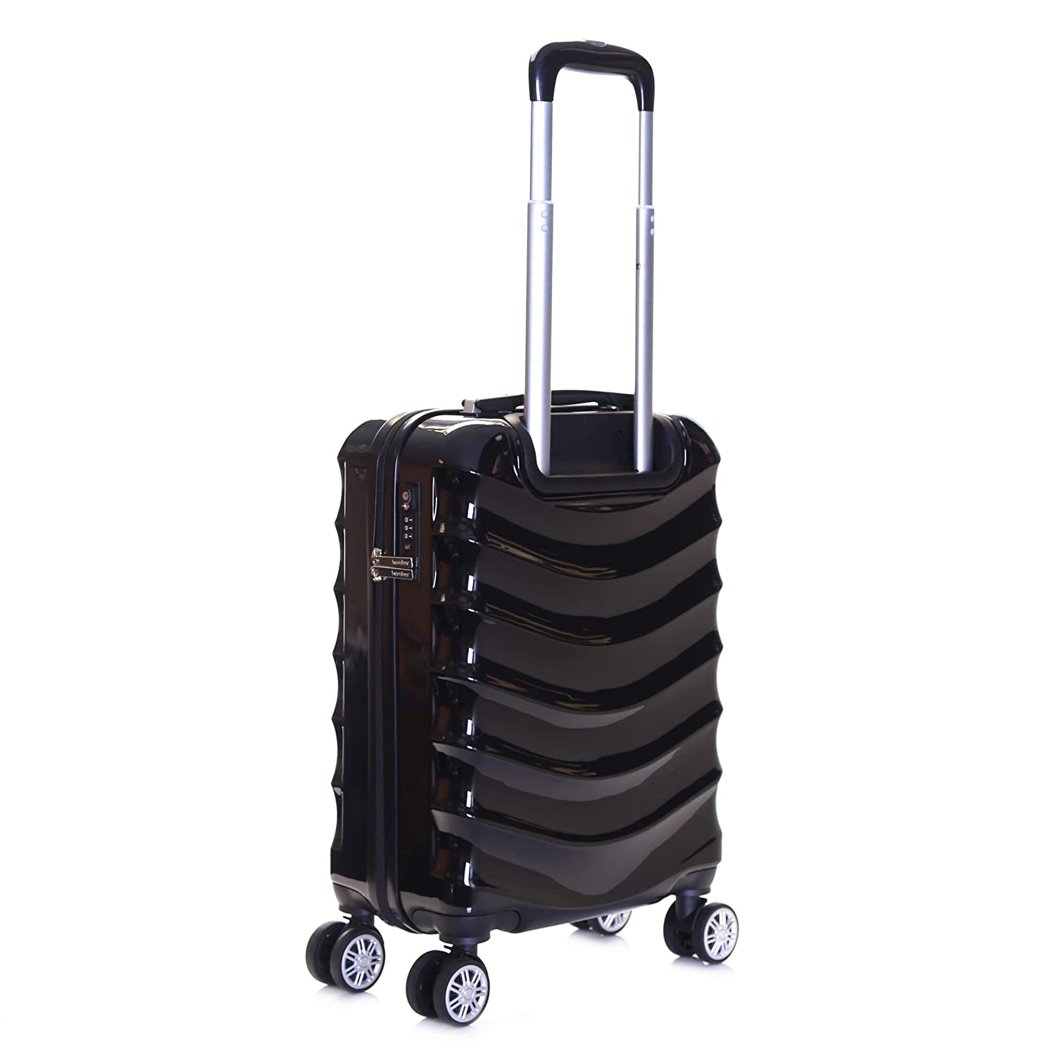 Karabar Set of 3 Hard Polycarbionate PC Suitcases Luggage Bags Small Carry-on Cabin Medium and Large ABS Shell Sets with 4 Spinner Wheels and Integrated TSA Number Lock Ripple Black