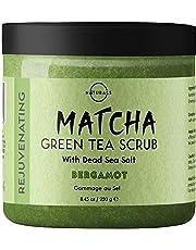 O Naturals Exfoliating Matcha & Bergamot Oil Skin Detox Face & Body Scrub. Deep Cleansing Moisturizing Treats Acne Cellulite Scars Ingrown Hairs Razor Burn Inflammation. Green Tea, Dead Sea Salt. 239g