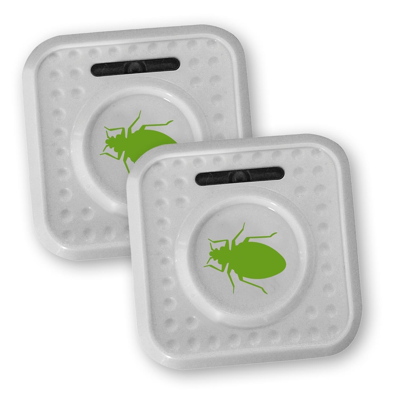 ISOTRONIC Ultraschall Milbencontroller Beetle batteriebetrieben mobil gegen Milben Hausstaubmilben Bettwanzen Allergie zusätzliches Licht 2 Stück