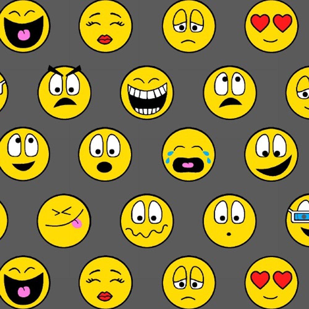 Emoticons Gray Yellow Smiley Face Fleece Fabric Print by the Yard o40912-1b by Field's Fabrics   B013RM30AO