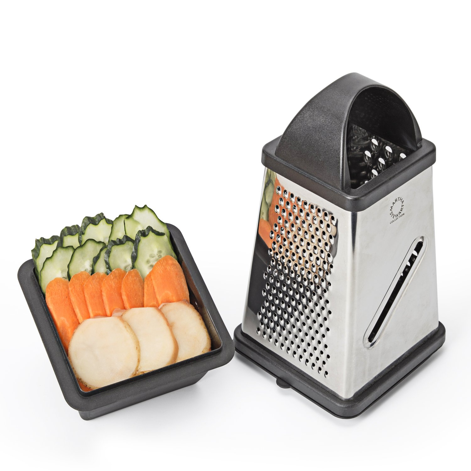 Yehua Kitchen Cheese Box Grater - Vegetable Slicer - 4 Sided Stainless Steel Multi-Purpose Cheese and Veggie Cutter with Collection Box and Lid