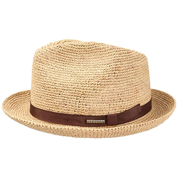 30025825b3b870 Stetson Alpena Player Crochet Raffia Hat Sun Beach (M (56-57 cm) - Nature):  Amazon.co.uk: Clothing
