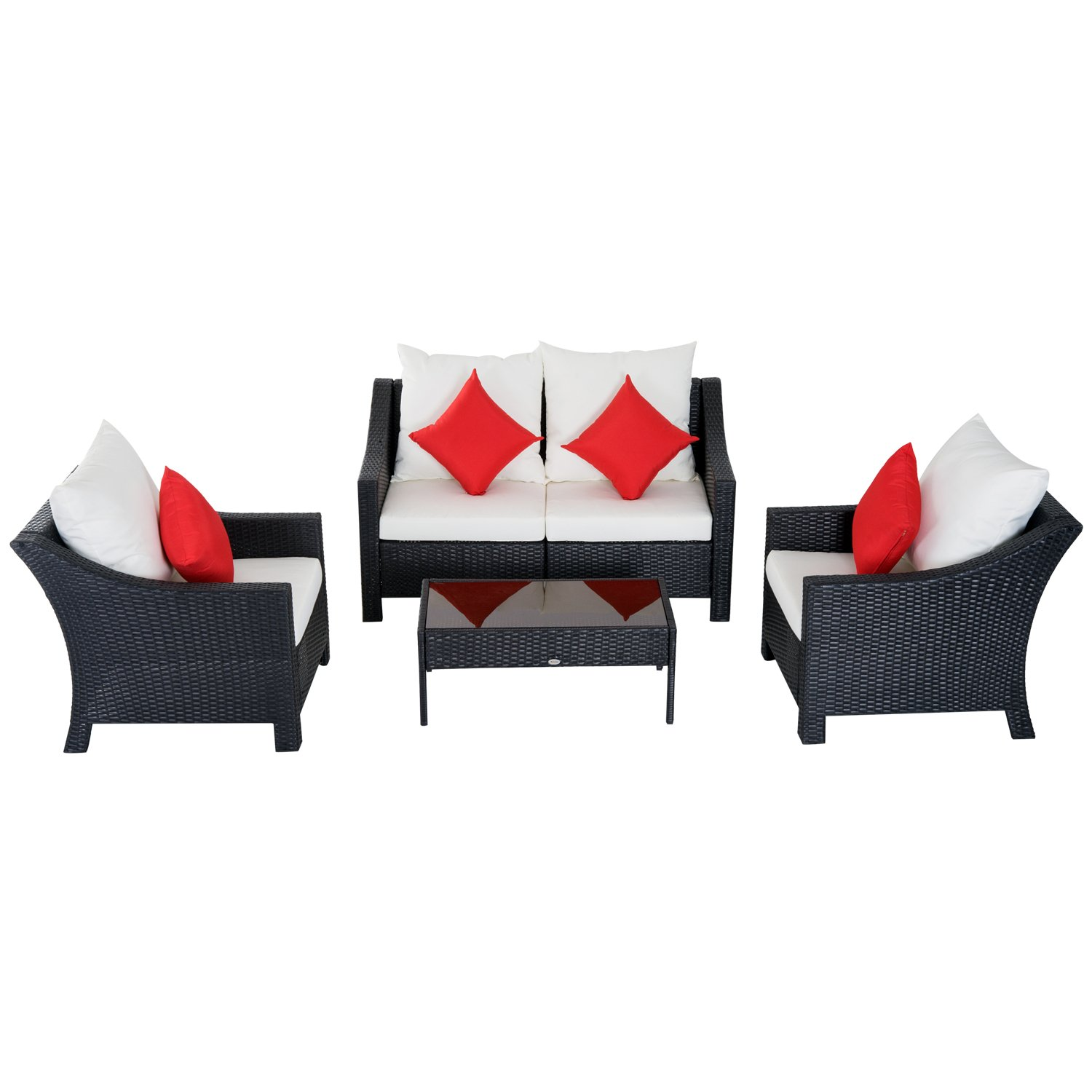 Brilliant Outsunny 4 Piece Outdoor Patio Rattan Wicker Cushioned Home Interior And Landscaping Staixmapetitesourisinfo
