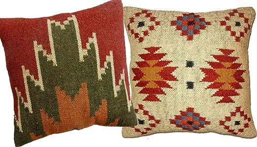 Handicraft Bazar Juego de 2 Fundas de cojín de Yute Vintage ...