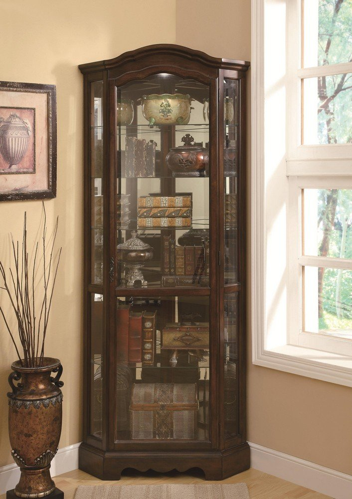 Amazon.com: 5 Shelf Corner Curio Cabinet Medium Brown And Clear: Kitchen U0026  Dining