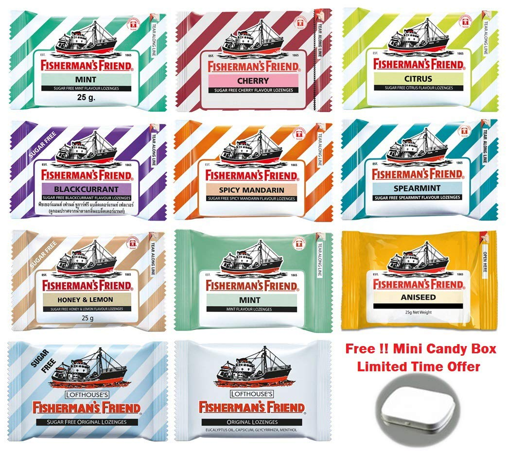 11 Flavors of Thai Fisherman s Friend Lozenges Each Pack Size 25 Gram (20-22 lozenges) with Candy Box