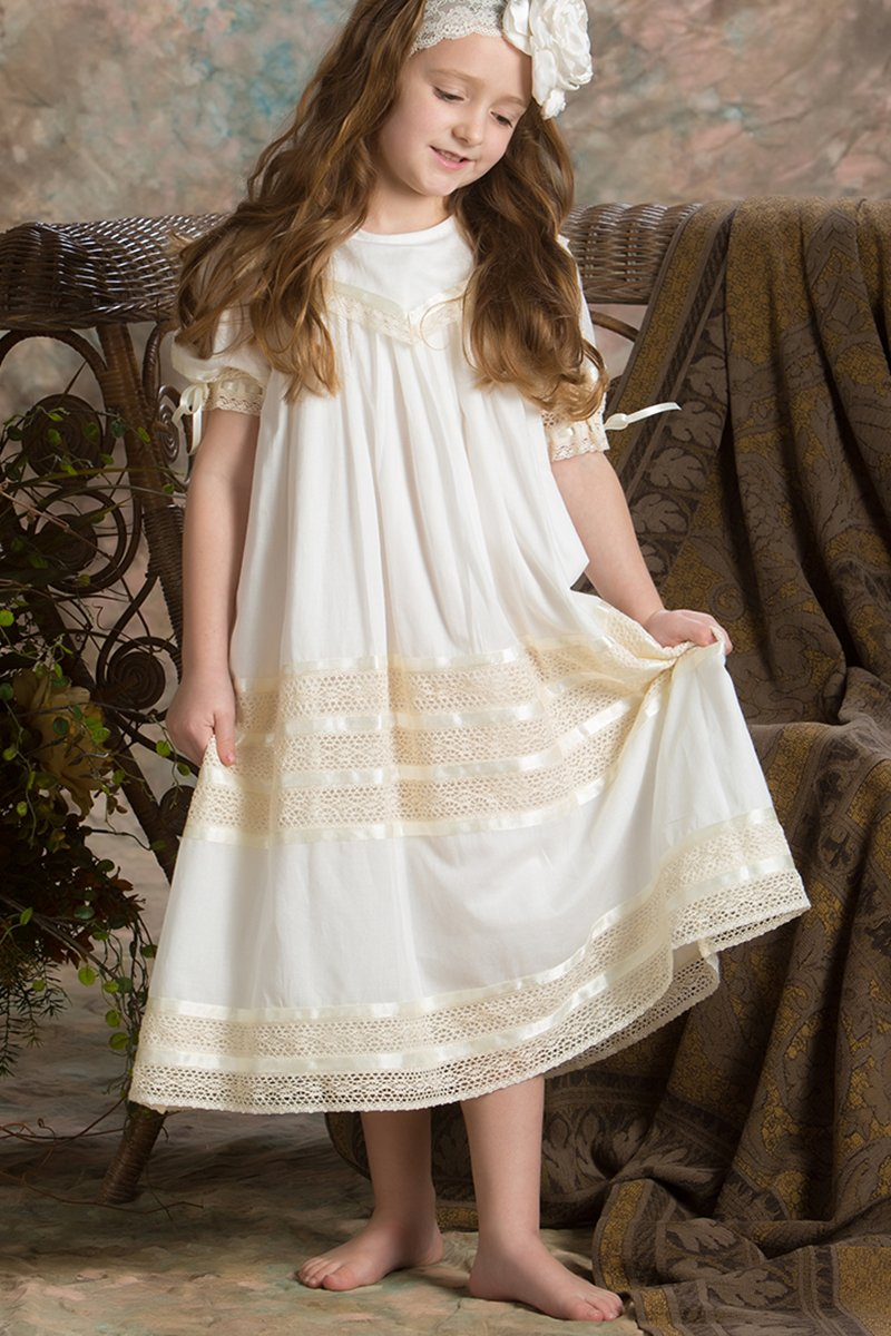 Lace Flower Girl Dress Heirloom Boho Vintage Portrait Dress Girls Ivory or White Strasburg Children
