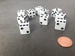 JUSTMIKE'S Set of 10 Six Sided D6 16mm Standard Dice Die - White with Black Pips
