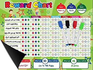 Magnetic Reward Behavior Star Chore Chart for One or Two Kids 17 x 13 Includes: 3 Color Dry Erase Markers Green Blue Black Flexible Chart with Full Magnet Backing for Fridge Teaches Responsibility