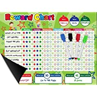 """Magnetic Behavior/Star/Reward Chore Chart, One or Multiple Kids, Toddlers, Teens 17"""" x 13"""", Premium Dry Erase Surface, Flexible Chart with Full Magnet Backing for Fridge, Teaches Responsibility!"""