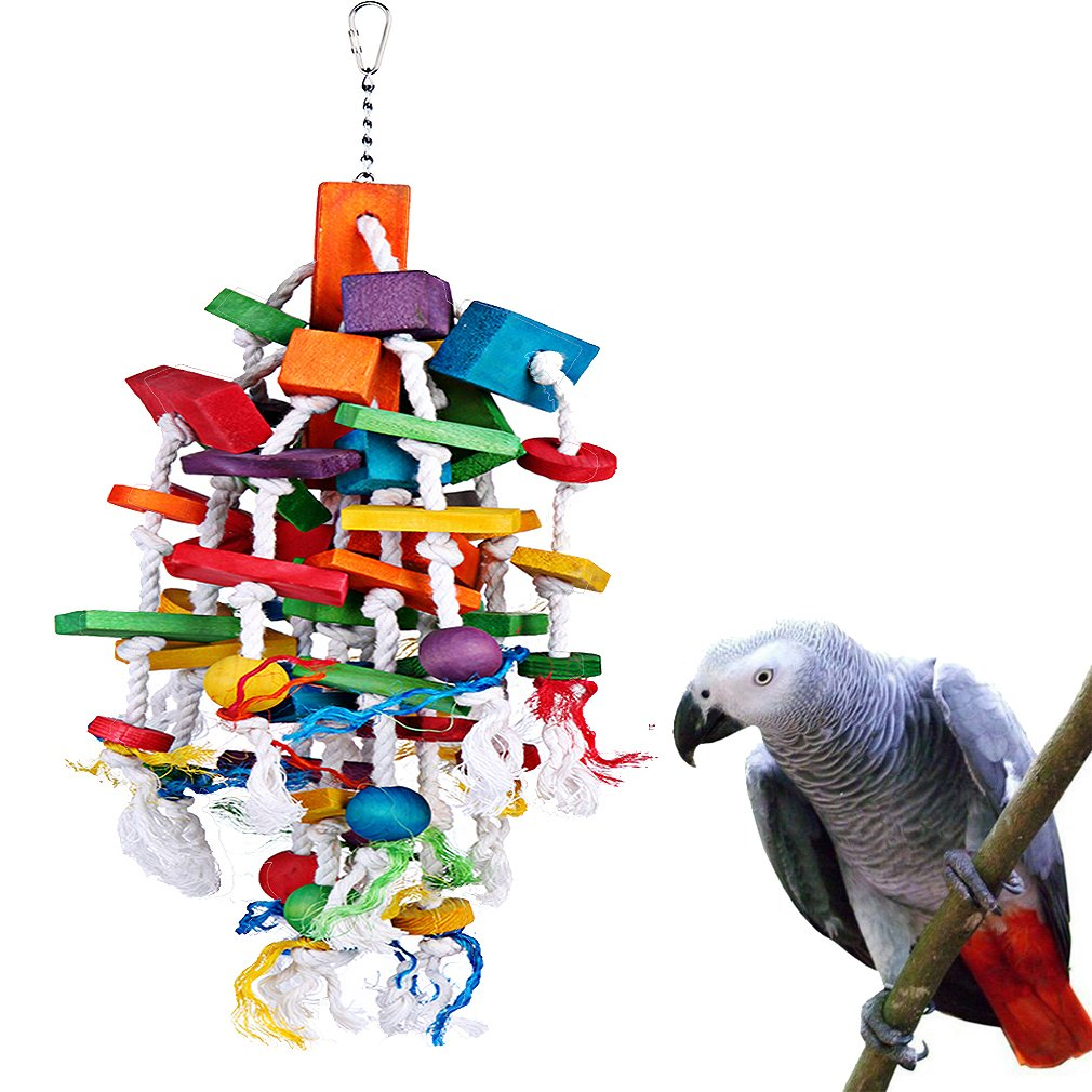 KINTOR Bird Chewing Toy Large Medium Parrot Cage Bite Toys African Grey Macaws Cockatoos Eclectus Amazon (Waterfall-Big) by KINTOR