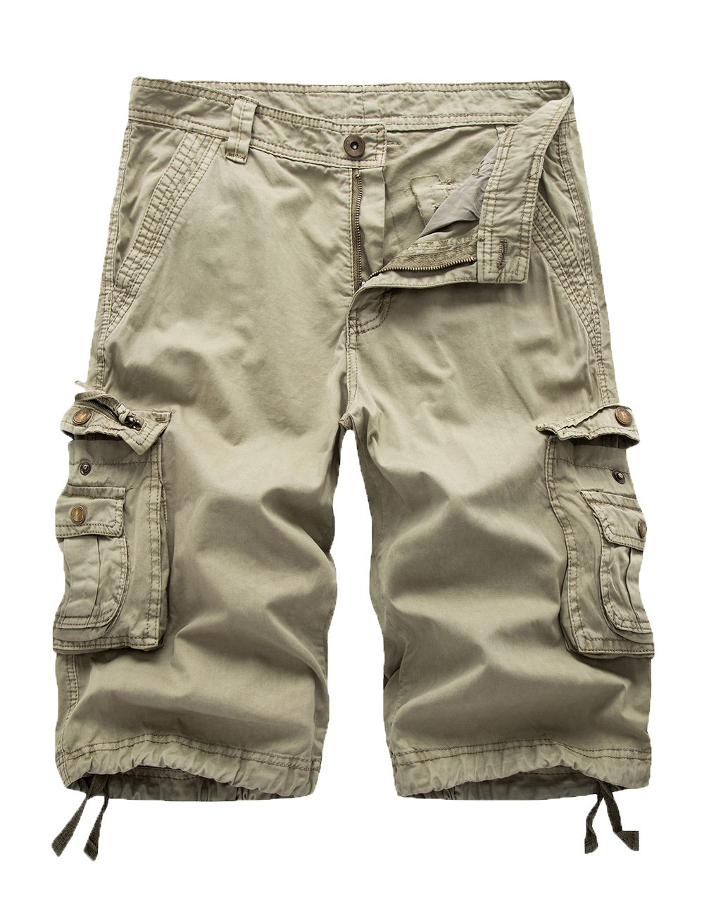 FOURSTEEDS Women's Cotton Butt Lift Zipper Multi-Pockets Twill Bermuda Drawstring Women Cargo Shorts Khaki US 10