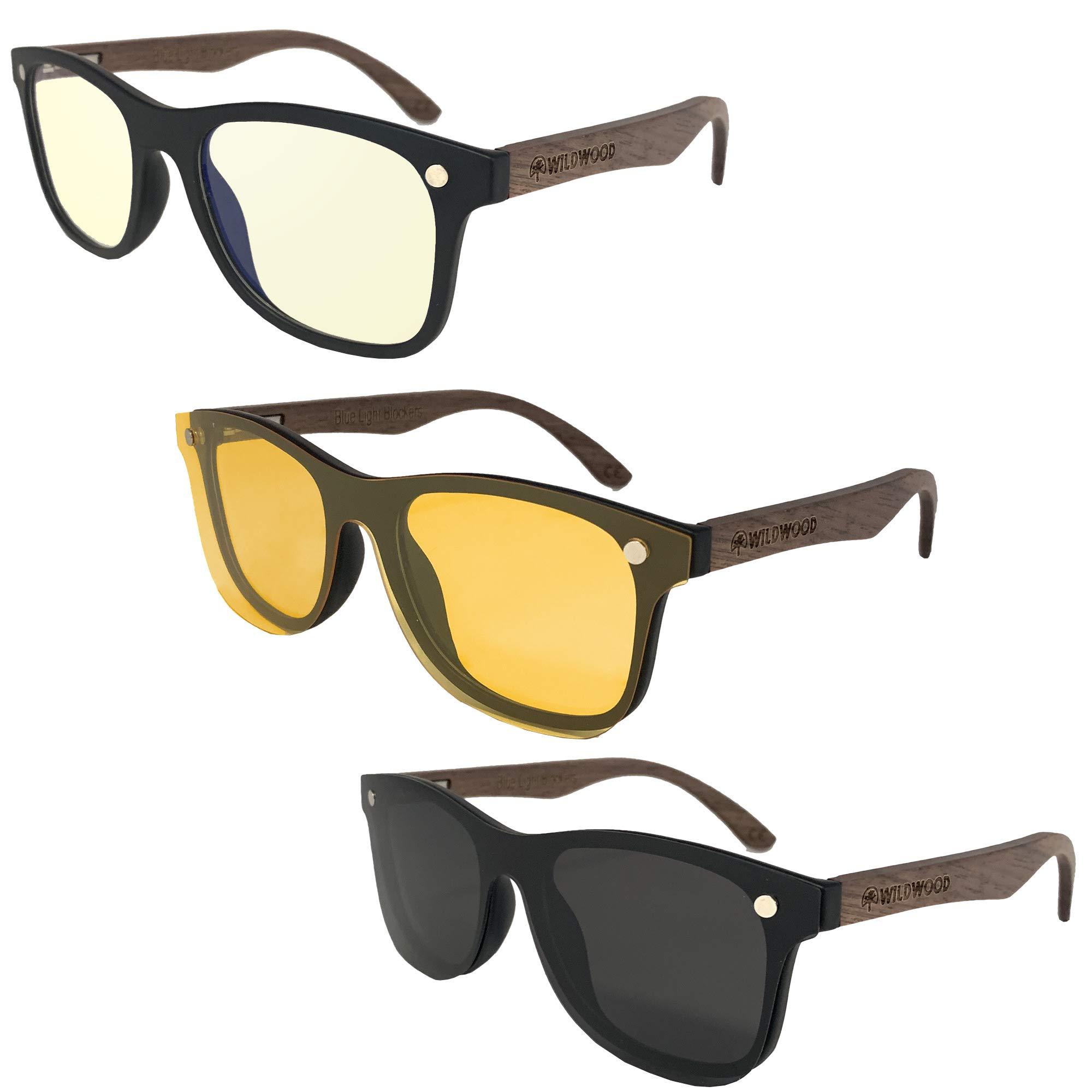 Wildwood Blue Light Blocking Glasses for Day and Night Use Plus Polarized Sunglasses | Anti Eye Strain | Enhanced Sleep Cycle (Walnut Wood Arms)