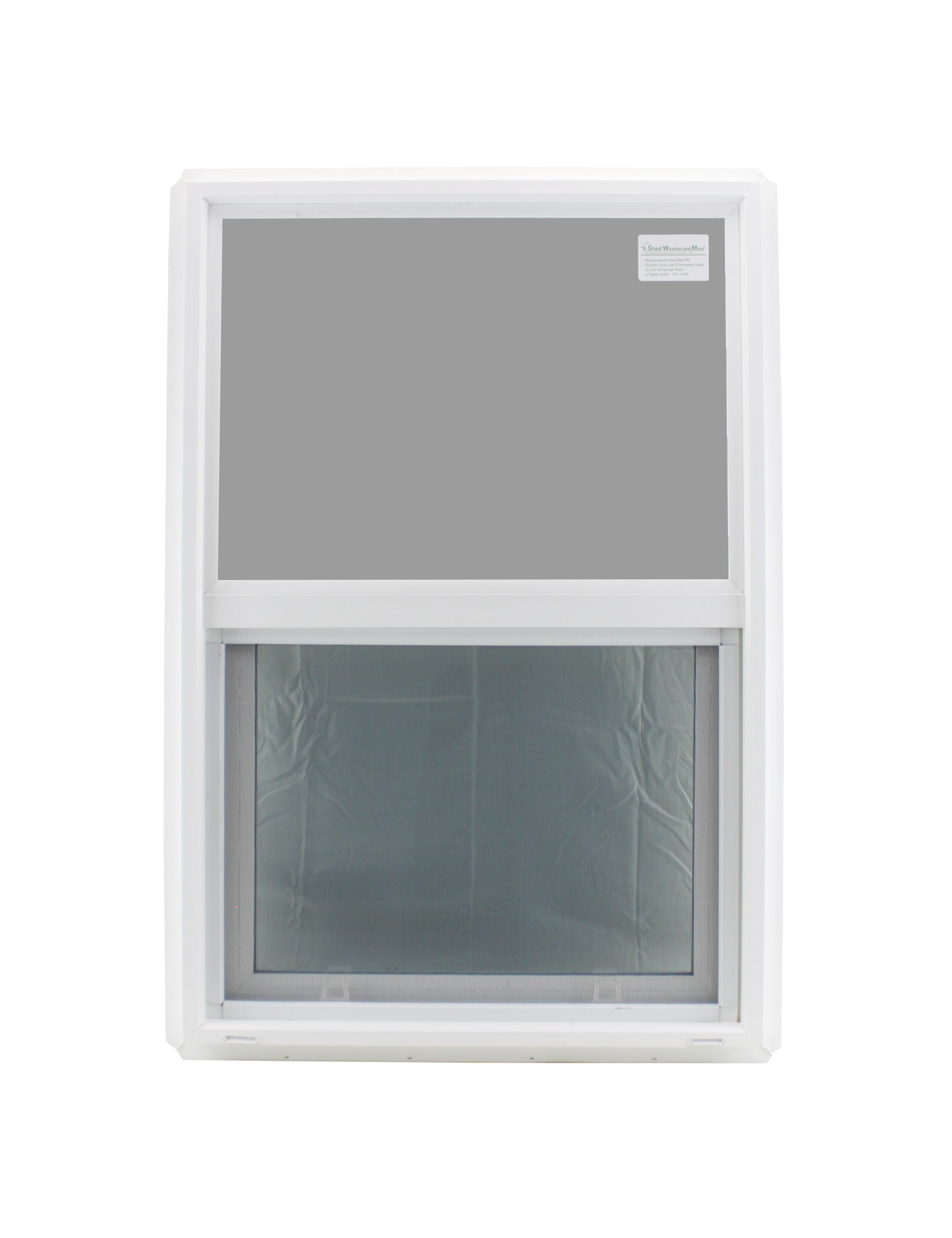Window 24'' x 36'' Double Pane Tempered Glass Low-E PVC Frame Vertical Slider by Shed Windows and More Inc