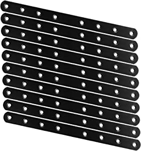 20pcs Flat Straight Braces ZOEYES 250MM X 20MM X 3MM Black Heavy Duty Straight Braces Brackets Mending Repair Plate Joining Connector for Wooden Furniture and Fence, 10nch x 0.8 Inch