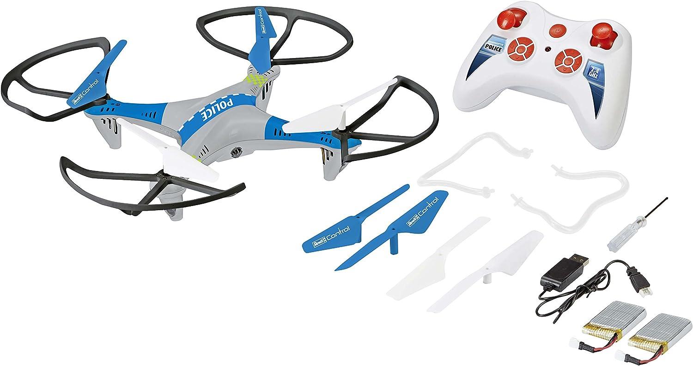 Revell Control RC Policía cuadricóptero, teledirigido con 2,4GHz Control Remoto, 2baterías, Altura Sensor, Headless, Flip de función, velocidades, LED de iluminación con búsqueda Faro–