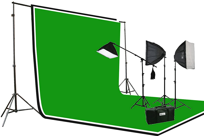 ePhoto 3pcs Chromakeyモスリン背景背景幕サポートスタンド& Complete 3200ワットビデオ写真スタジオ照明キットh604sb2 – 69bwg   B0081WWS8G