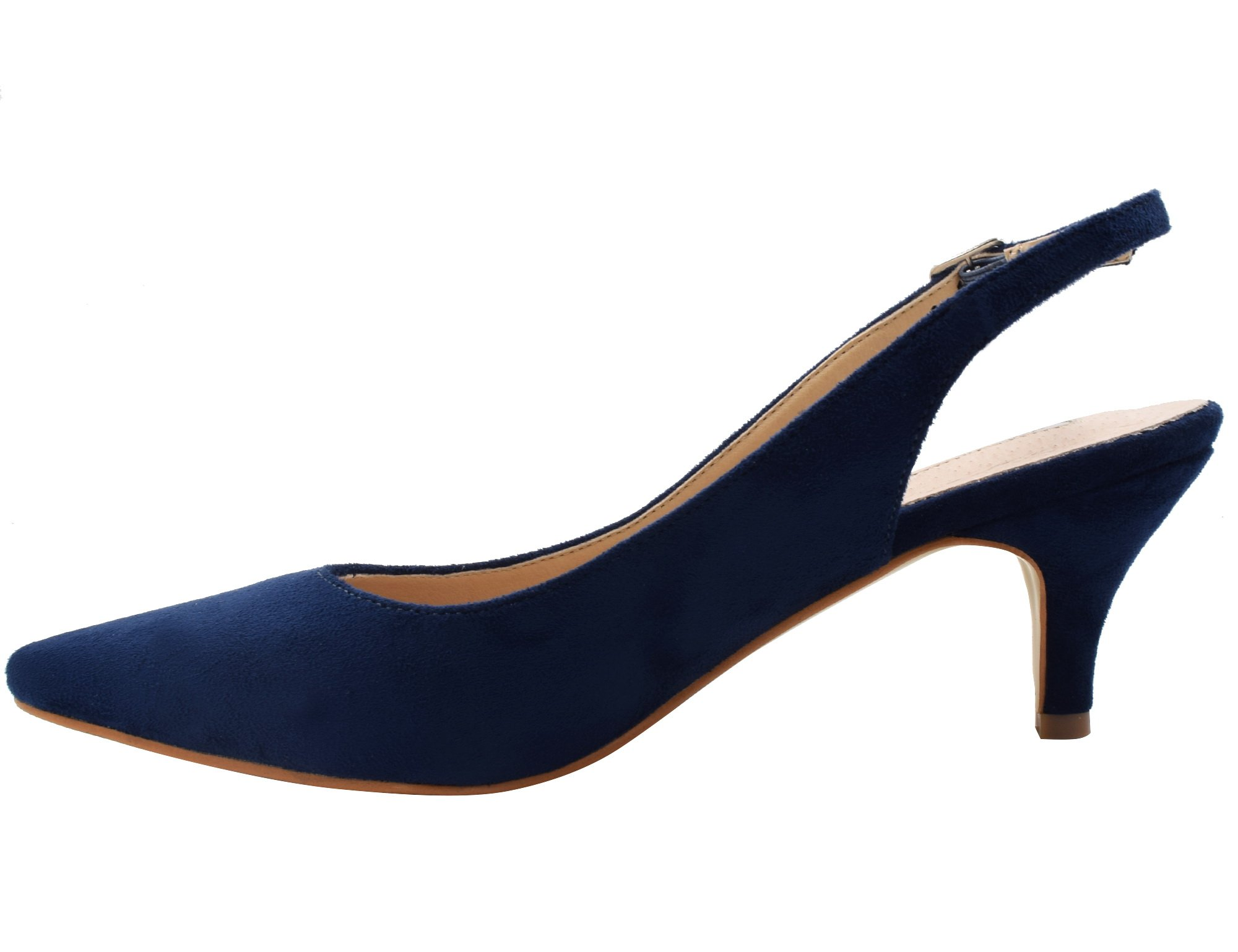 Greatonu Womens Blue Formal Classic Kitten Heels Pumps Shoes Size 9 by Greatonu (Image #3)