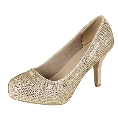 Cambridge Select Women's Crystal Glitter Closed Toe High Heel Dress Pump | Shoes