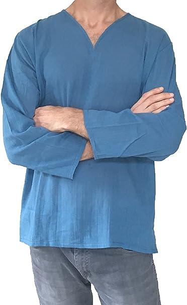 Amazon.com: Para hombre hippie V cuello camisas de lino de ...