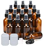 2oz Amber Glass Spray Bottles ULG 16 Pack Small Fine Mist Sprayer Empty Refillable Essential Oils Perfume Cologne…