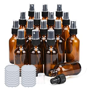 2oz Amber Glass Spray Bottles ULG 16 Pack Small Fine Mist Sprayer Empty Refillable Essential Oils Perfume Cologne Atomizer for Outside Travel, DIY Labels Included
