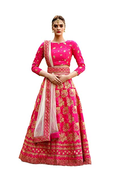 17d43c986c Image Unavailable. Image not available for. Colour: Fashion Ka Fatka Indian  Magenta Pink Silk Embroidered Work bridal stitched lehenga choli ...