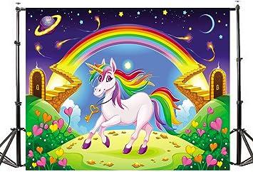 Amazon.com: KSZUT - Fondo de unicornio arcoíris para fiesta ...