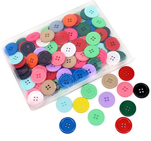 1 inch Buttons, About 100 PCs of 15 Color Flatback Round Resin Buttons for Sewing, Crafts, Scrapbooking Decoration with Storage Box