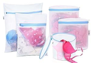 PlusMart 5Pcs Mesh Laundry Bags, Delicates Laundry Bag for Sock, Bra, Underwear, Garment (1 Large, 1 Medium, 3 Bra Laundry Bags)