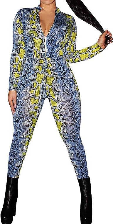 WAWAYA Women Long Sleeve Zipper Print Fashion Slim Fit Jumpsuit Romper