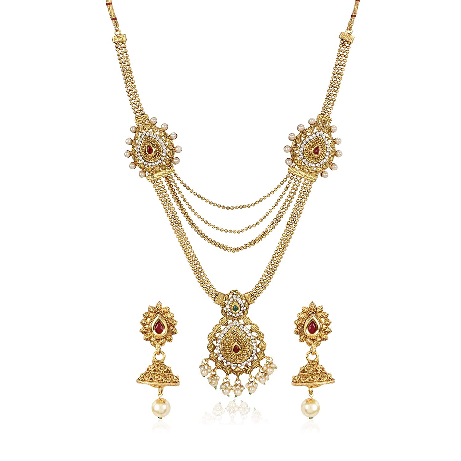 Buy Shining Diva Fashion Latest Long Haram Design Pearl Necklace