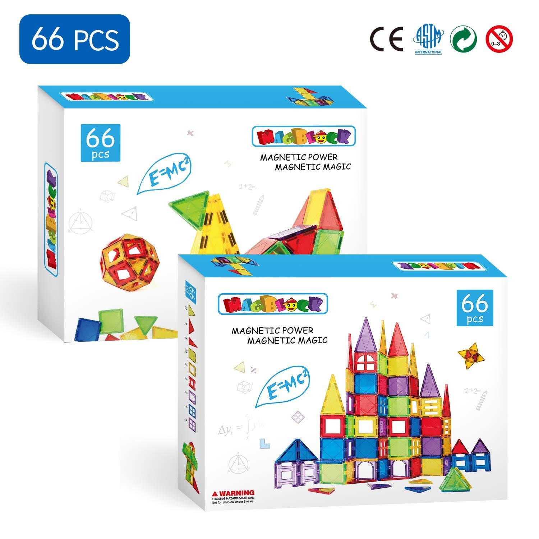 Magblock 66 PCS Magnetic Building Blocks, Magnetic Tiles for Kids Toys丨Magnet Toys Set 3D Building Blocks for Toddler Boys and Girls by Magblock (Image #6)