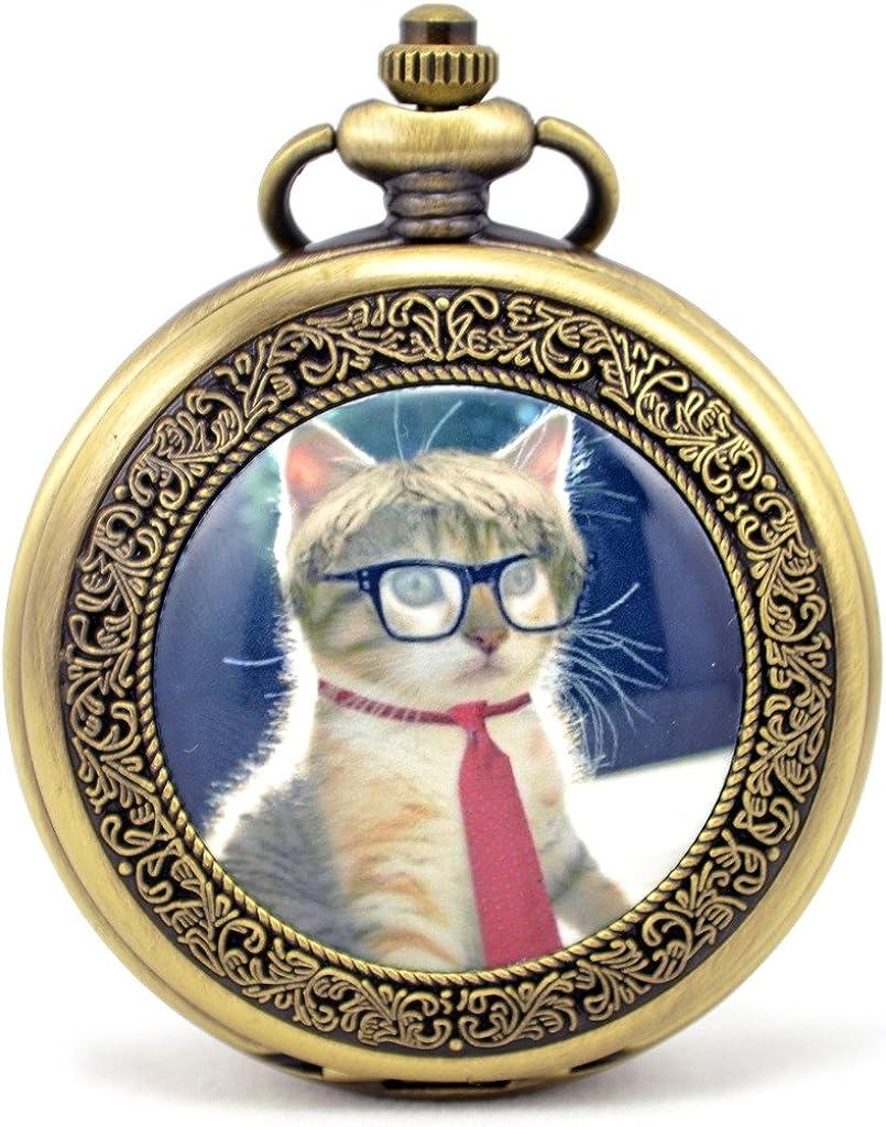 Infinite U Retro Gato/Kitten/Gatito con Corbata y Gafas Números Romanos Reloj de Bolsillo Mecánico: Amazon.es: Relojes