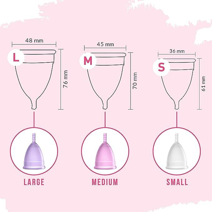 Copa menstrual aprobada por la FDA de Sirona Pro - Mediana para mujeres | Use por 8-10 horas | Copa de período reutilizable: súper suave, flexible, ...