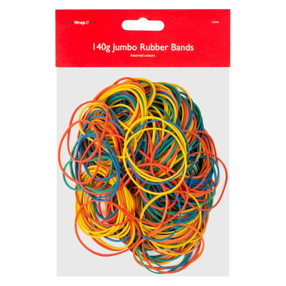 Assorted Elastic Rubber Bands, Big Pack - Mixed Colours - 140g Pack - by Wrap It ITP U-80385