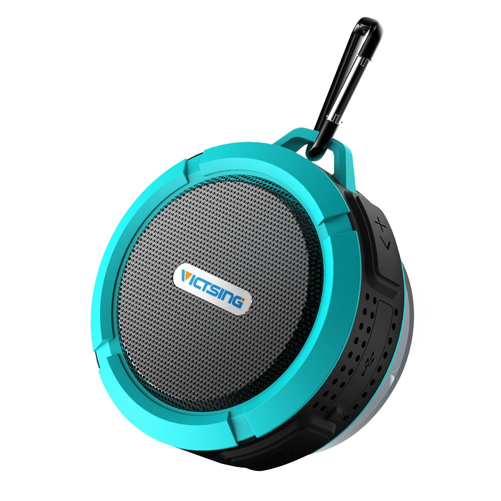 VicTsing Shower Speaker, Wireless Water-Resistant Speaker with 5W Driver, Suction Cup, Built-in Mic, Hands-Free Speakerphone-Blue