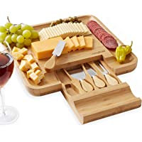 Casafield Organic Bamboo Cheese Cutting Board & Knife Gift Set - Wooden Serving Tray for Charcuterie Meat Platter, Fruit…