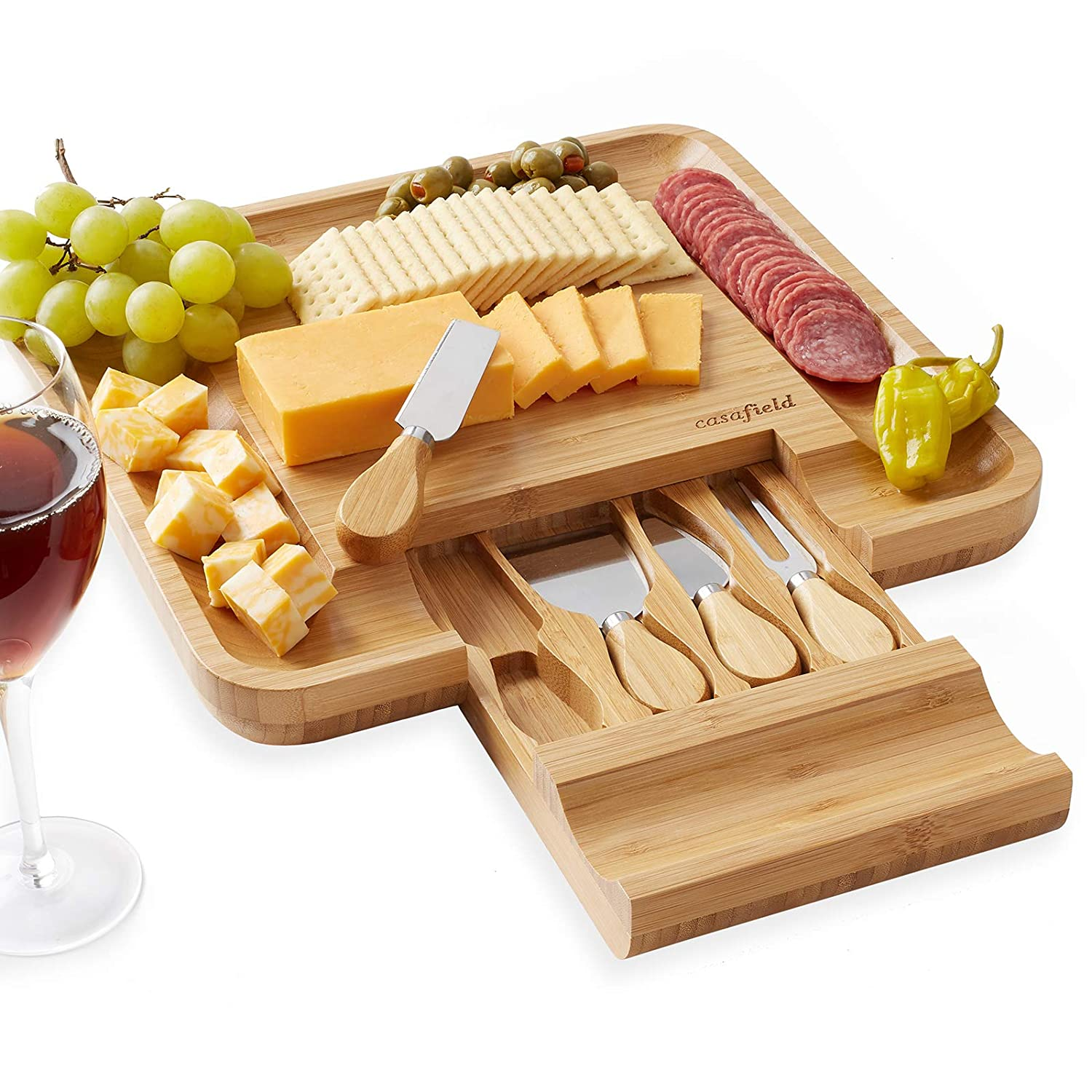 B07DTJFJH1 Casafield Organic Bamboo Cheese Cutting Board & Knife Gift Set - Wooden Serving Tray for Charcuterie Meat Platter, Fruit & Crackers - Slide Out Drawer with 4 Stainless Steel Knives 71xn1F1u27L