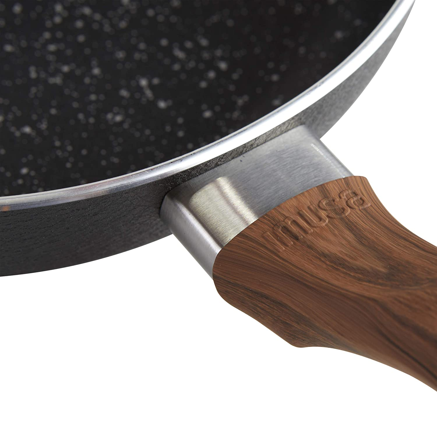 IMUSA USA IMU-91707 12 Black Stone Nonstick Fry Pan with Woodlook Handle and Speckled Nonstick Interior