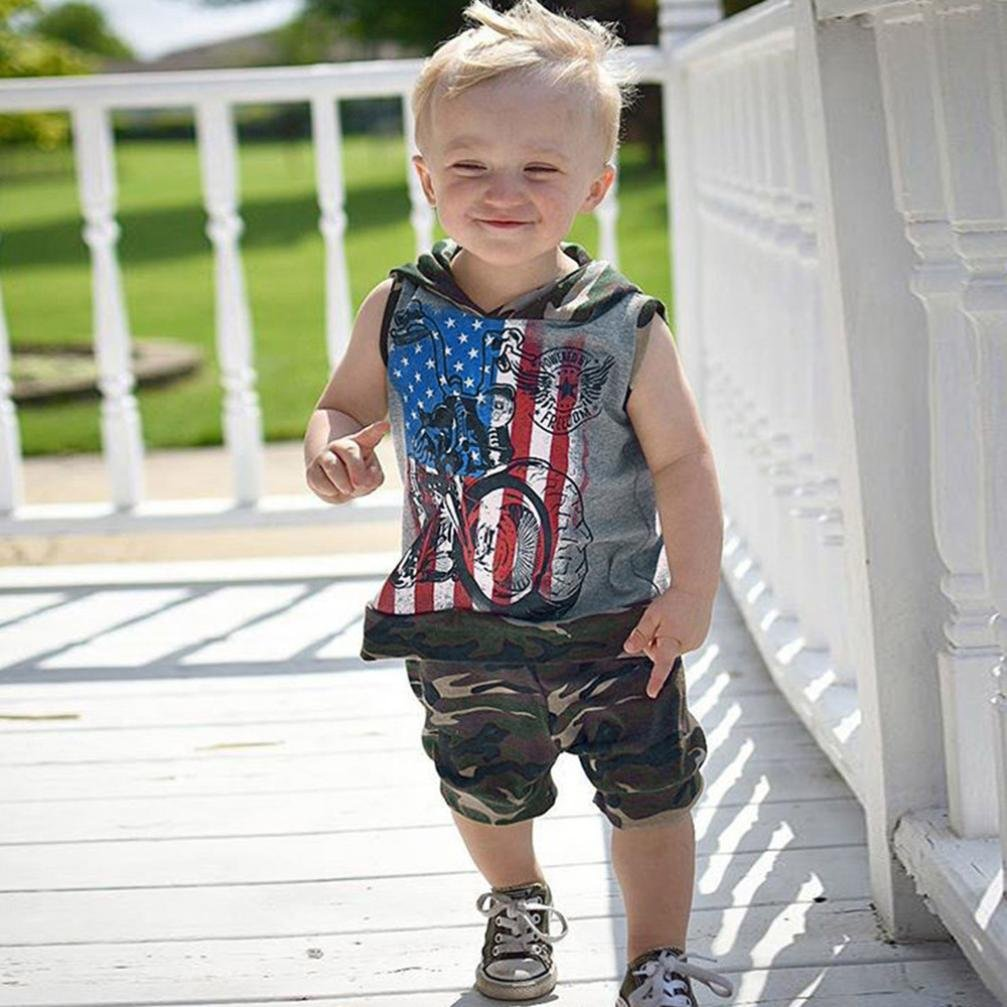 DIGOOD for 0-4 Years Old,Toddler Baby Boys Star Stripes Hoodie+Camouflage Pants,Children 2Pcs Outfits Summer Clothes Sets