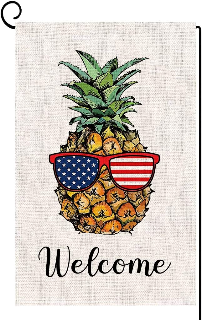 ORTIGIA Welcome American Patriotic Pineapple Garden Flag Double Sized Summer 4th of July Memorial Independence Day House Yard Outdoor Decoration Burlap 12.5 x 18 Inch