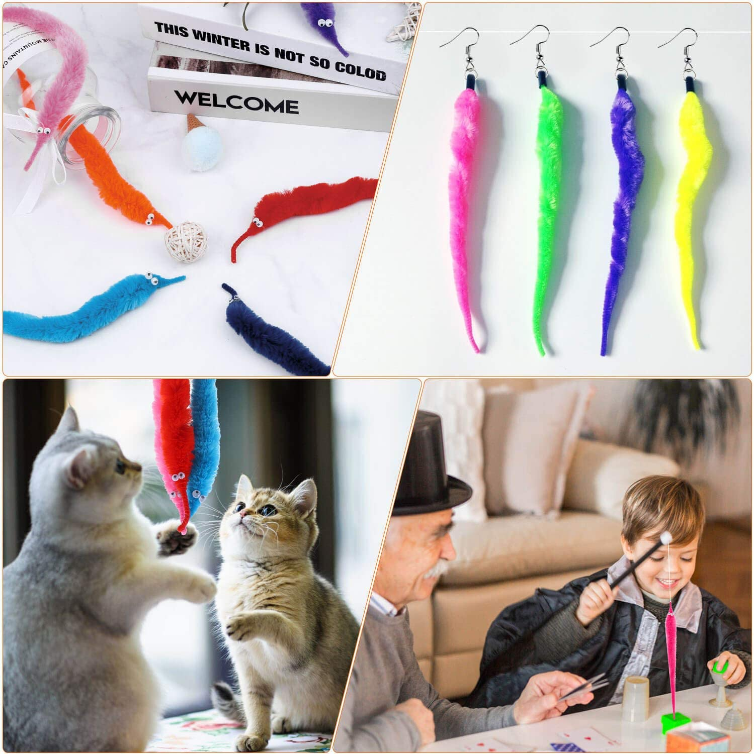 selizo Worm On A String and Tiny Babies 100Pcs Mini Plastic Babies with 20Pcs Fuzzy Worms On String Bulk for Small Baby Shower Ice Cube Games Party Favors Supplies