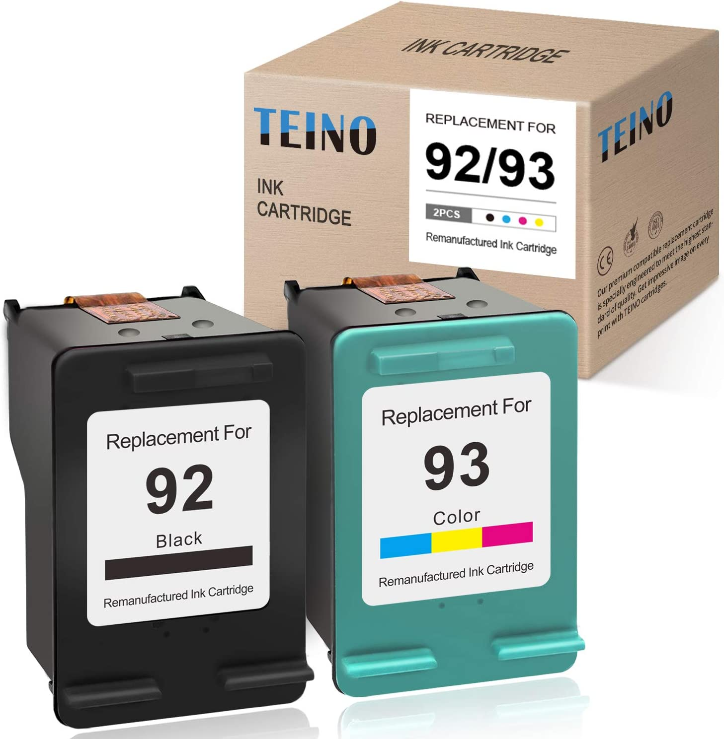 TEINO Remanufactured Ink Cartridge Replacement for HP 92 93 use with HP Photosmart C3180 C3100 C3140 C3150 C3190 7850 PSC 1510 1507 OfficeJet 6310 6310XI DeskJet 5440 5420 (Black, Tri-Color, 2-Pack)