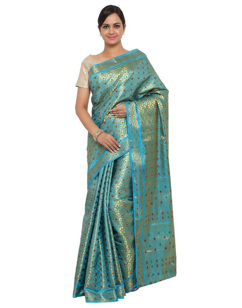 Varkala Silk Sarees Women's Art Silk Banarasi Saree With Blouse Piece_(ND1101AD_Turquoise Blue)