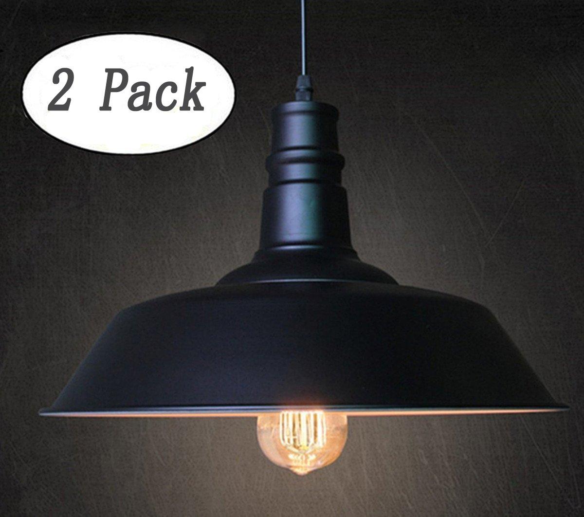 FadimiKoo Industrial Pendant Lighting, E26 E27 Base Vintage Metal Hanging Light Edison Simplicity Lamp Fixturem 2 Pack by FadimiKoo