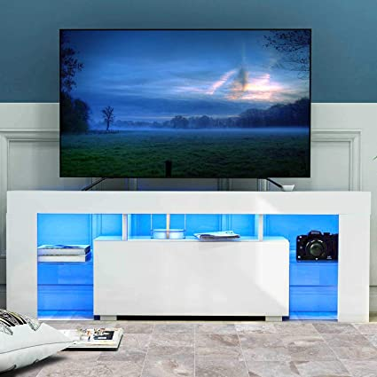 Wonderlife Tv Stand Cabinet Led Tv Unit Modern Tv Desk With Storage 130cm White Matt And High Gloss Table With Blue Light For Living Room Home Furniture Amazon Co Uk Kitchen Home