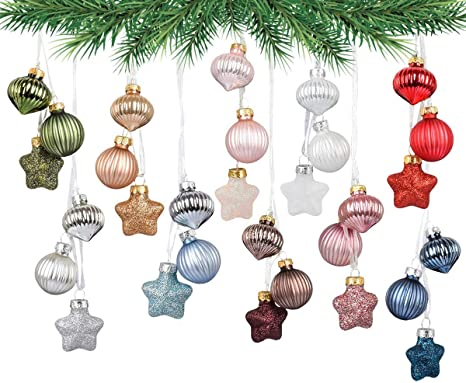 Amazon Com Mixed 10 Colors Hanging Glass Baubles Christmas Ornament For Christmas Tree Decor Wedding Event Centerpieces Style B Home Kitchen