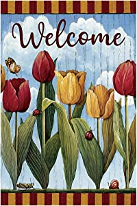 Morigins Welcome Spring Tulip House Yard Flag Double Sided Floral Garden Flag 12 x18 Inch